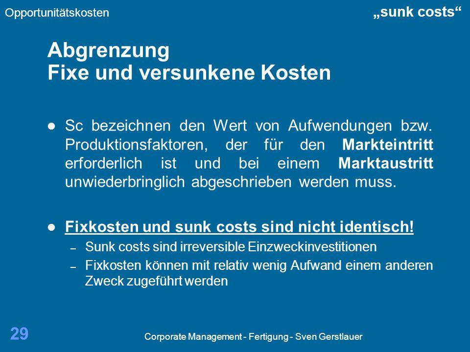Abgrenzung Fixe und versunkene Kosten