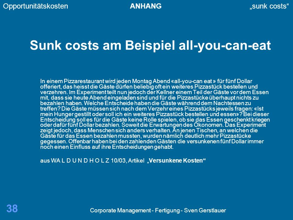 Sunk costs am Beispiel all-you-can-eat