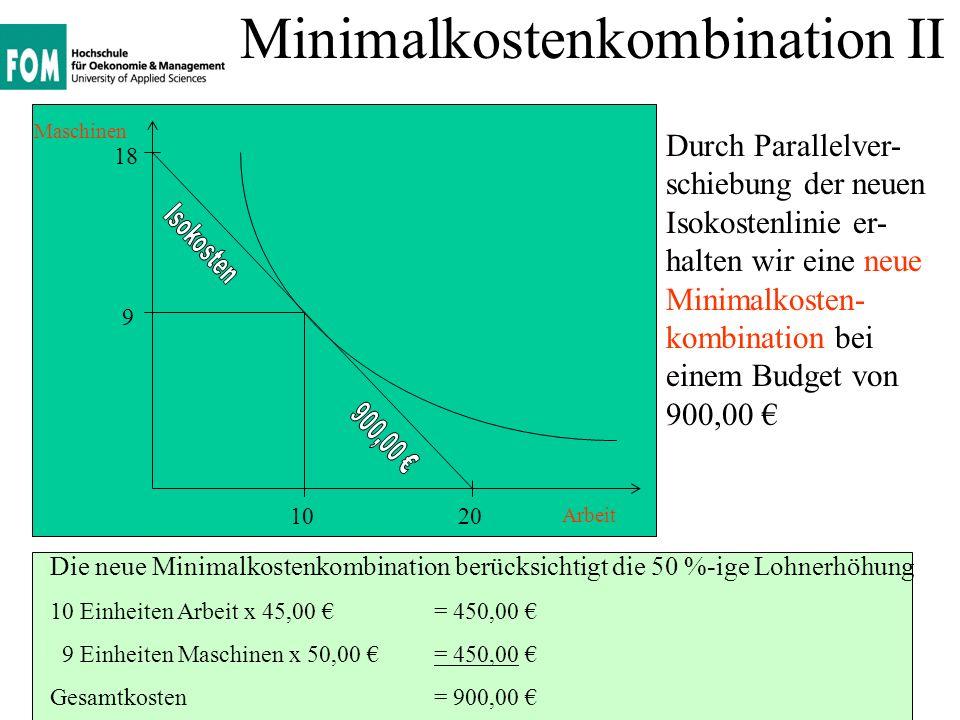 Minimalkostenkombination II
