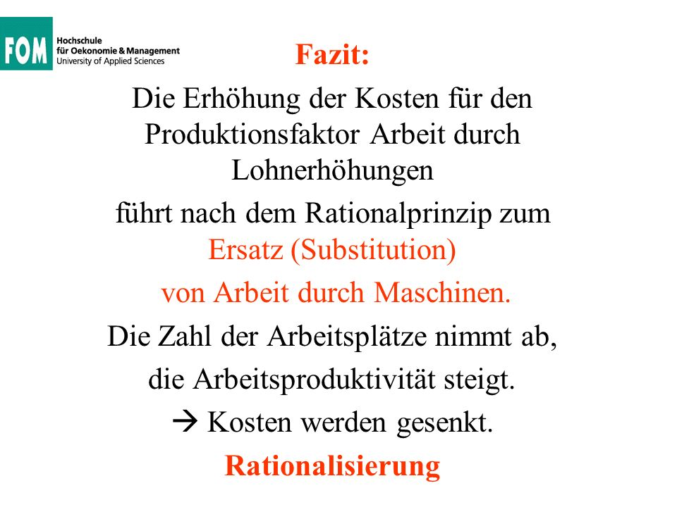 Fazit: Rationalisierung