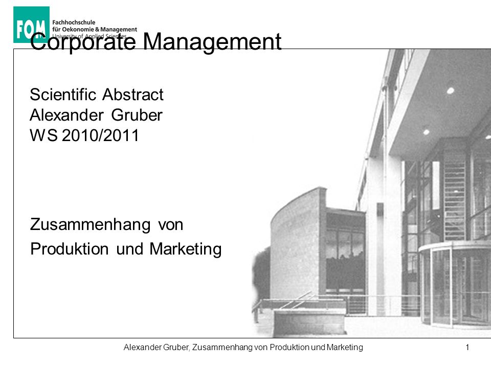 Corporate Management Scientific Abstract Alexander Gruber WS 2010/2011