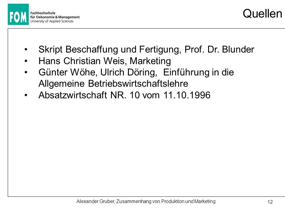 Quellen Skript Beschaffung und Fertigung, Prof. Dr. Blunder