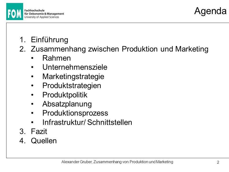 Agenda Einführung Zusammenhang zwischen Produktion und Marketing