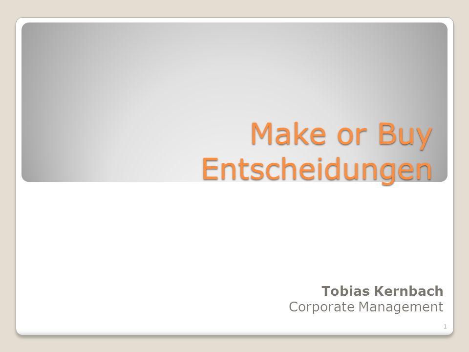 Make or Buy Entscheidungen