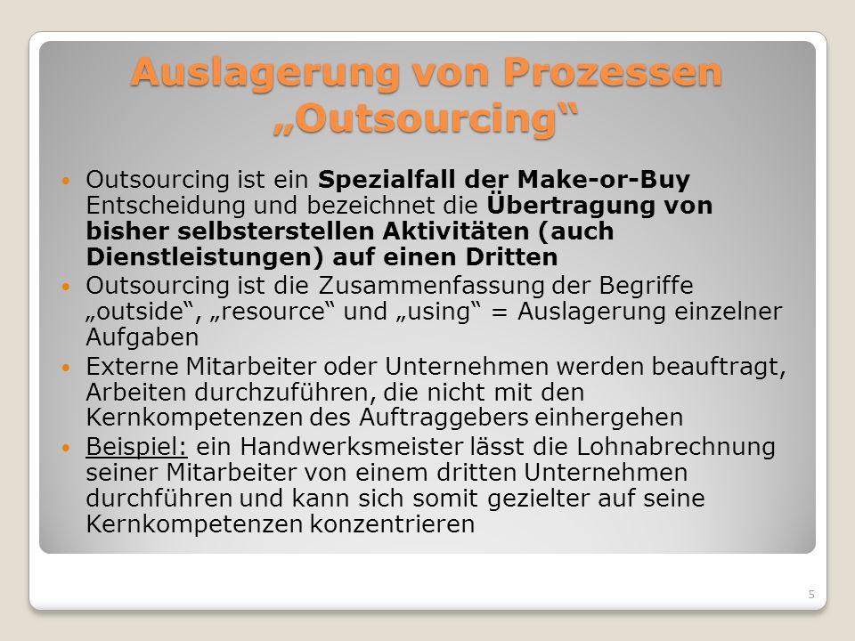 """Auslagerung von Prozessen """"Outsourcing"""