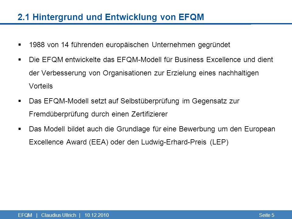 2.1 Hintergrund und Entwicklung von EFQM