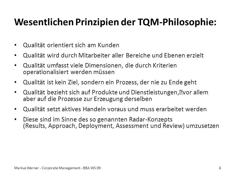 Wesentlichen Prinzipien der TQM-Philosophie: