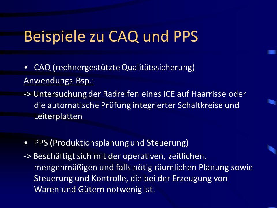 Beispiele zu CAQ und PPS
