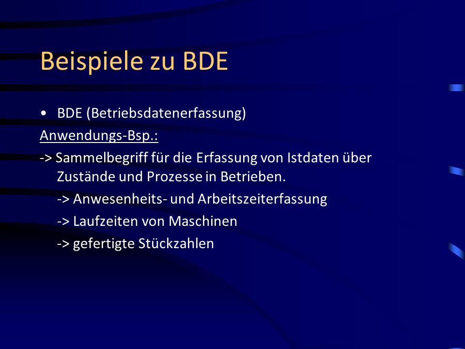 Beispiele zu BDE BDE (Betriebsdatenerfassung) Anwendungs-Bsp.:
