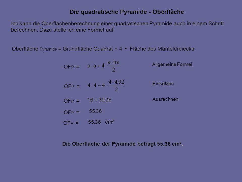 Die quadratische Pyramide - Oberfläche