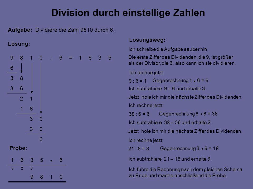 Division durch einstellige Zahlen