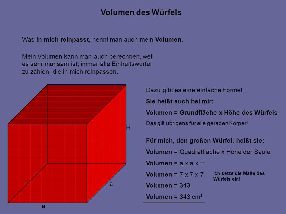 Volumen des Würfels Was in mich reinpasst, nennt man auch mein Volumen. Mein Volumen kann man auch berechnen, weil.