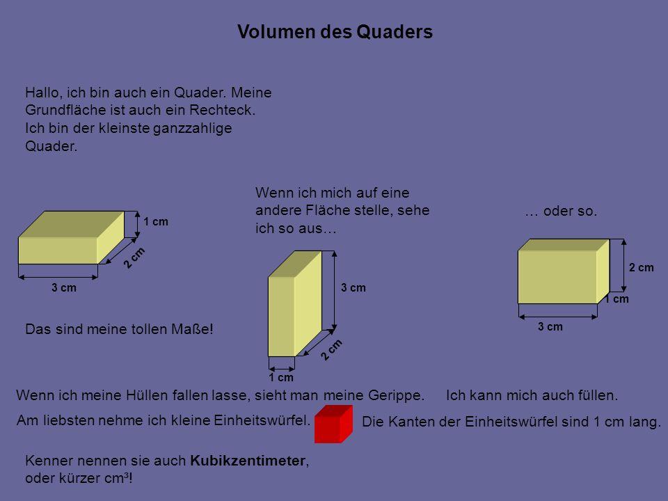 Volumen des Quaders Hallo, ich bin auch ein Quader. Meine