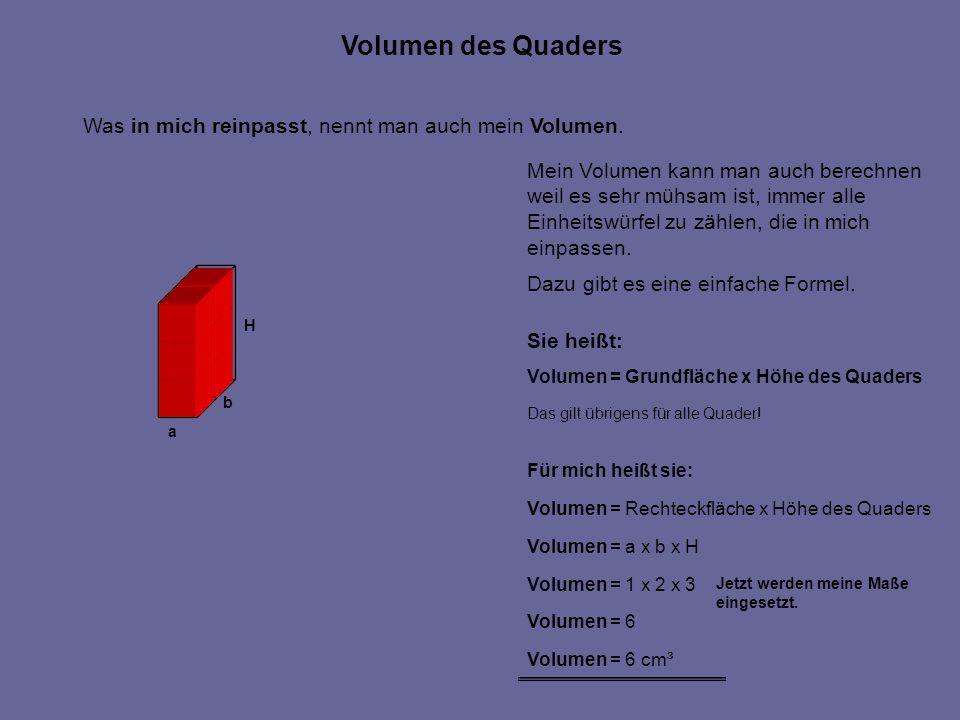Volumen des Quaders Was in mich reinpasst, nennt man auch mein Volumen. Mein Volumen kann man auch berechnen.