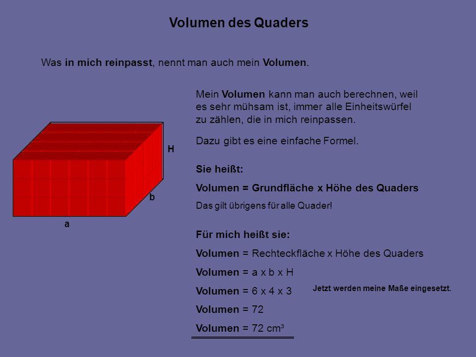 Volumen des Quaders Was in mich reinpasst, nennt man auch mein Volumen. Mein Volumen kann man auch berechnen, weil.