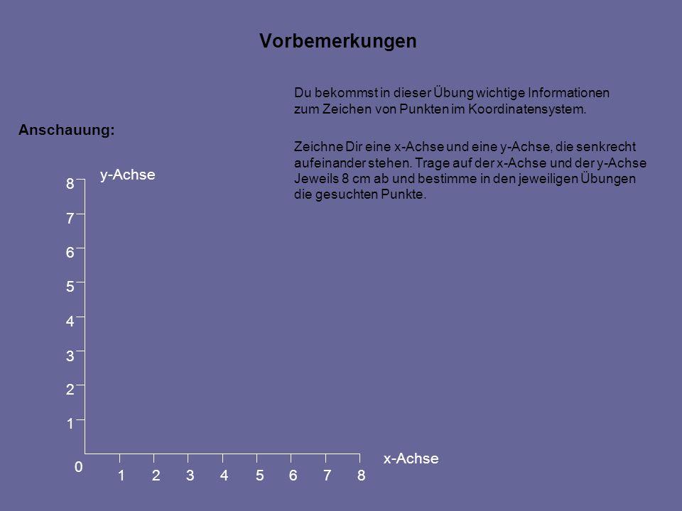 Vorbemerkungen Anschauung: 1 2 3 4 5 6 7 8 y-Achse x-Achse