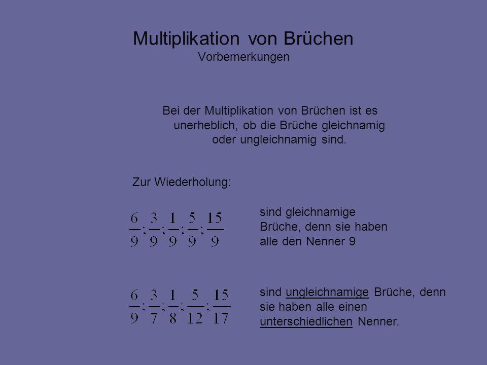 Multiplikation von Brüchen Vorbemerkungen