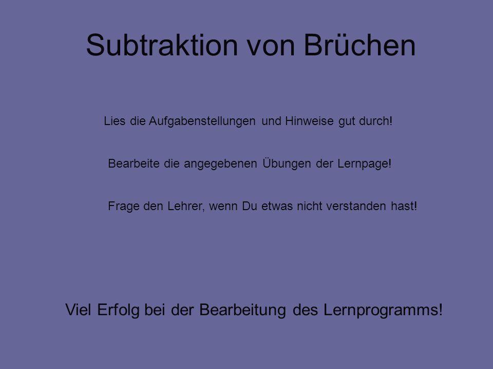 Subtraktion von Brüchen