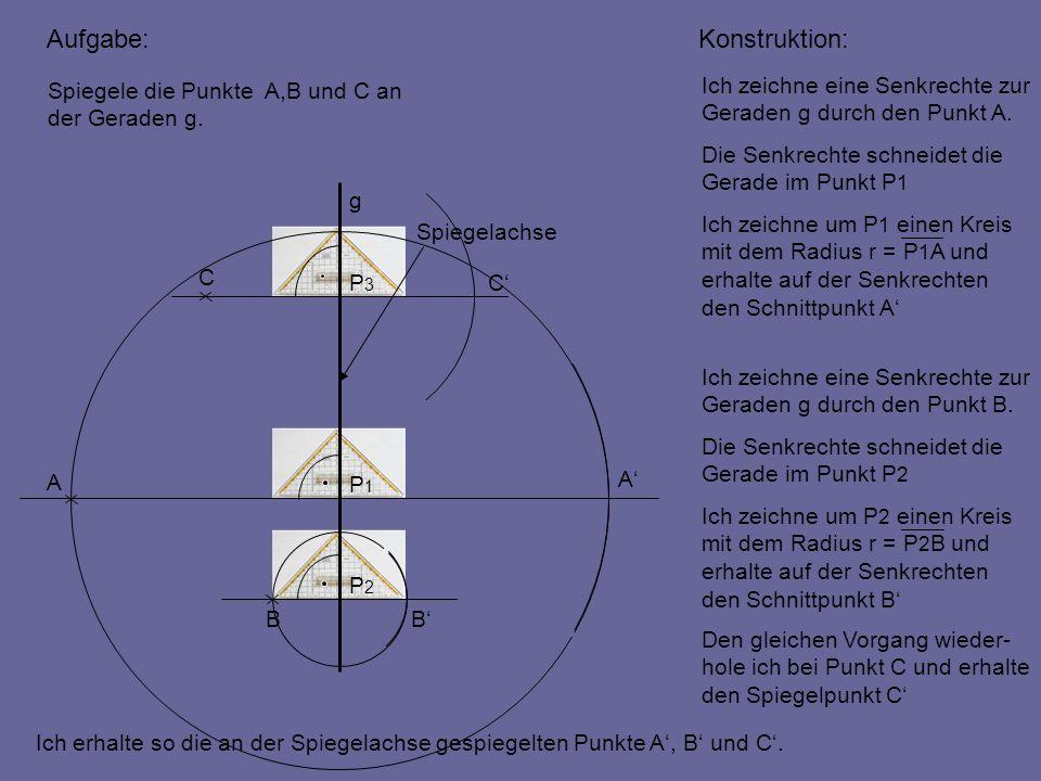 Aufgabe: Konstruktion: Spiegele die Punkte A,B und C an der Geraden g.