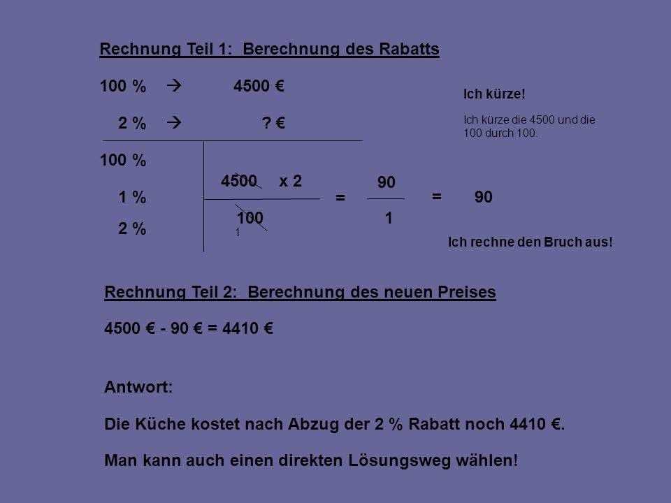 Rechnung Teil 1: Berechnung des Rabatts