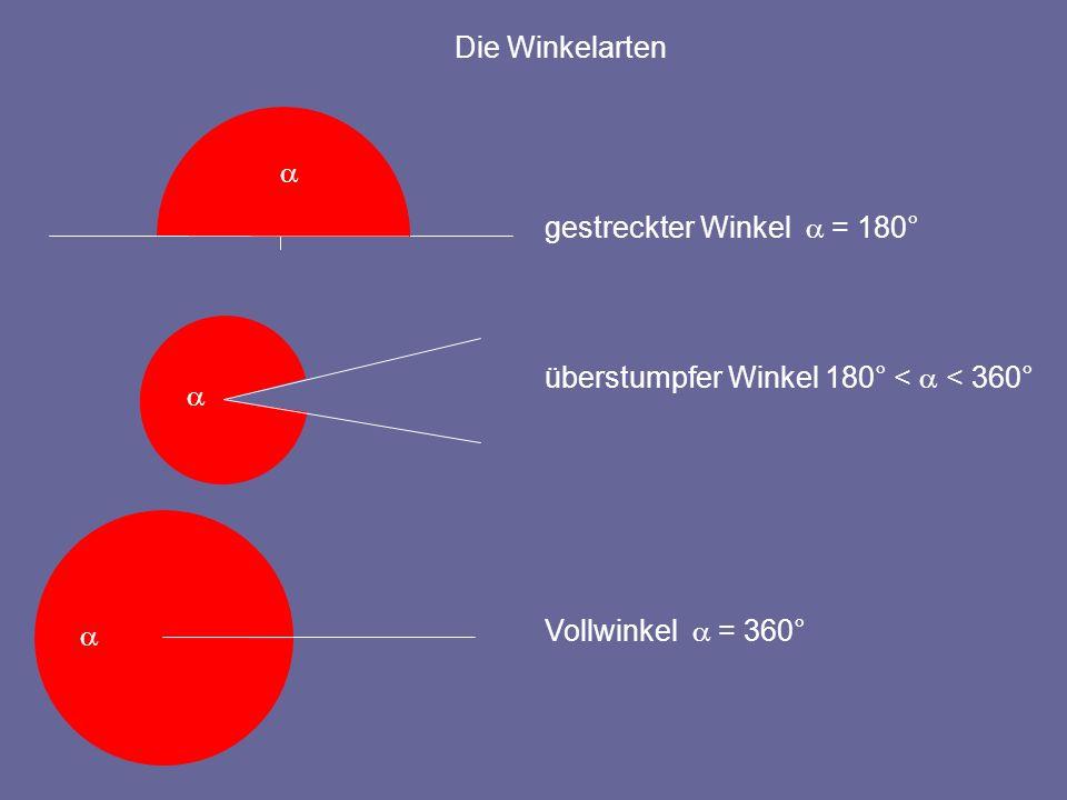 Die Winkelarten a. gestreckter Winkel a = 180° a.