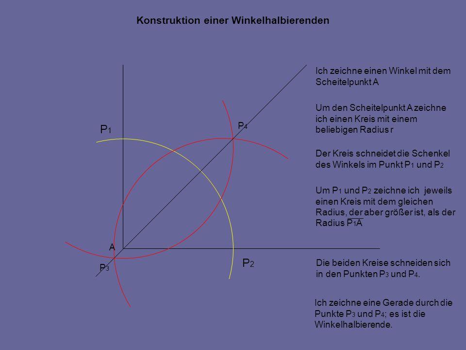 P1 P2 Konstruktion einer Winkelhalbierenden