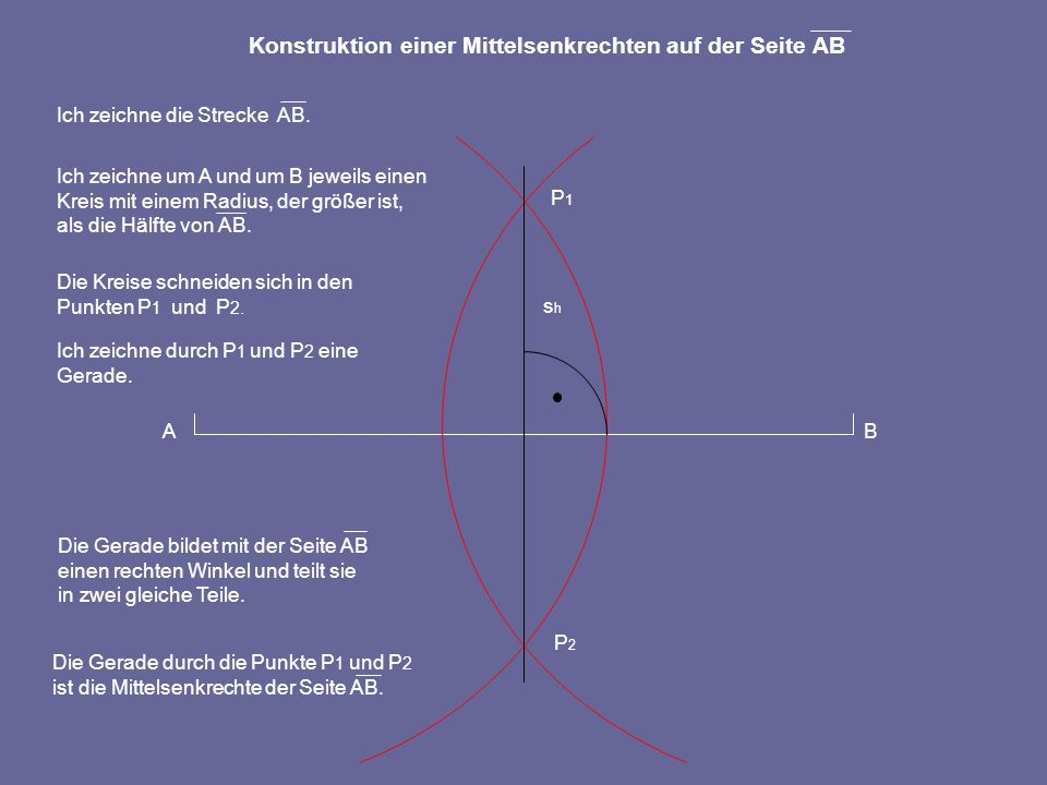 Konstruktion einer Mittelsenkrechten auf der Seite AB
