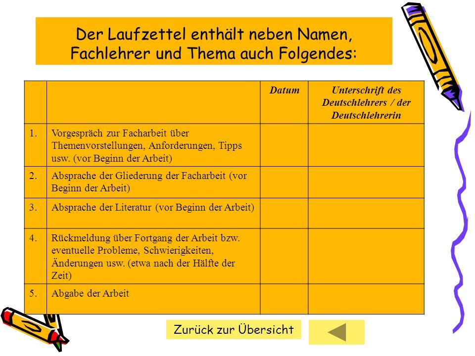 Unterschrift des Deutschlehrers / der Deutschlehrerin