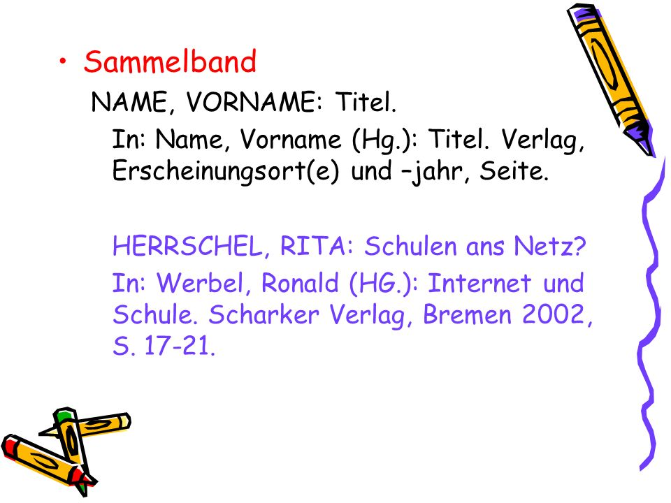 Sammelband NAME, VORNAME: Titel.