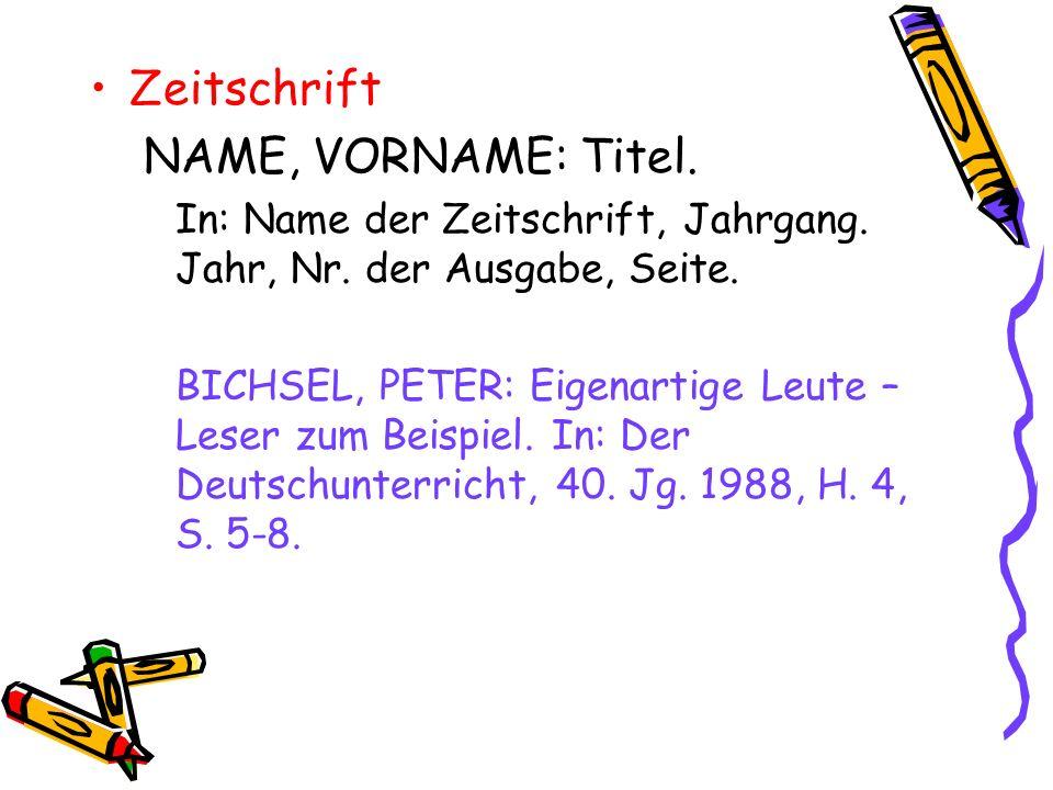 Zeitschrift NAME, VORNAME: Titel.
