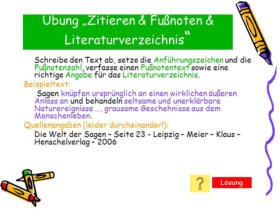 """Übung """"Zitieren & Fußnoten & Literaturverzeichnis"""