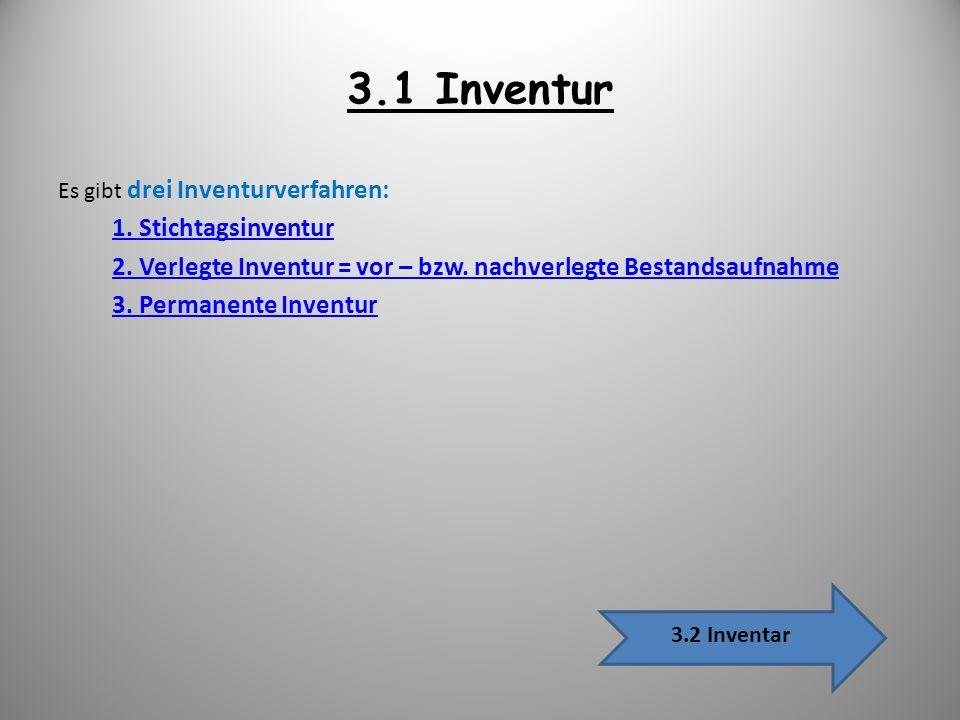 3.1 Inventur Es gibt drei Inventurverfahren: 1. Stichtagsinventur. 2. Verlegte Inventur = vor – bzw. nachverlegte Bestandsaufnahme.