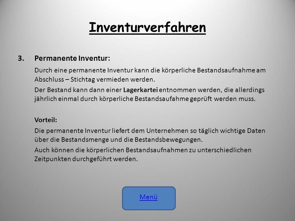 Inventurverfahren Permanente Inventur: