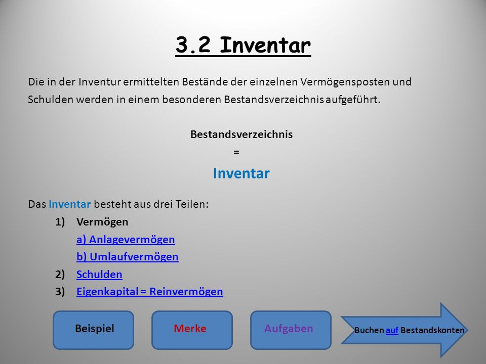 3.2 Inventar Die in der Inventur ermittelten Bestände der einzelnen Vermögensposten und.