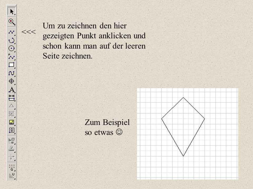 Um zu zeichnen den hier gezeigten Punkt anklicken und schon kann man auf der leeren Seite zeichnen.