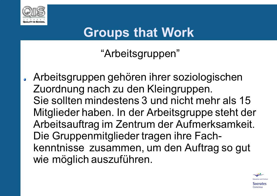Groups that Work Arbeitsgruppen