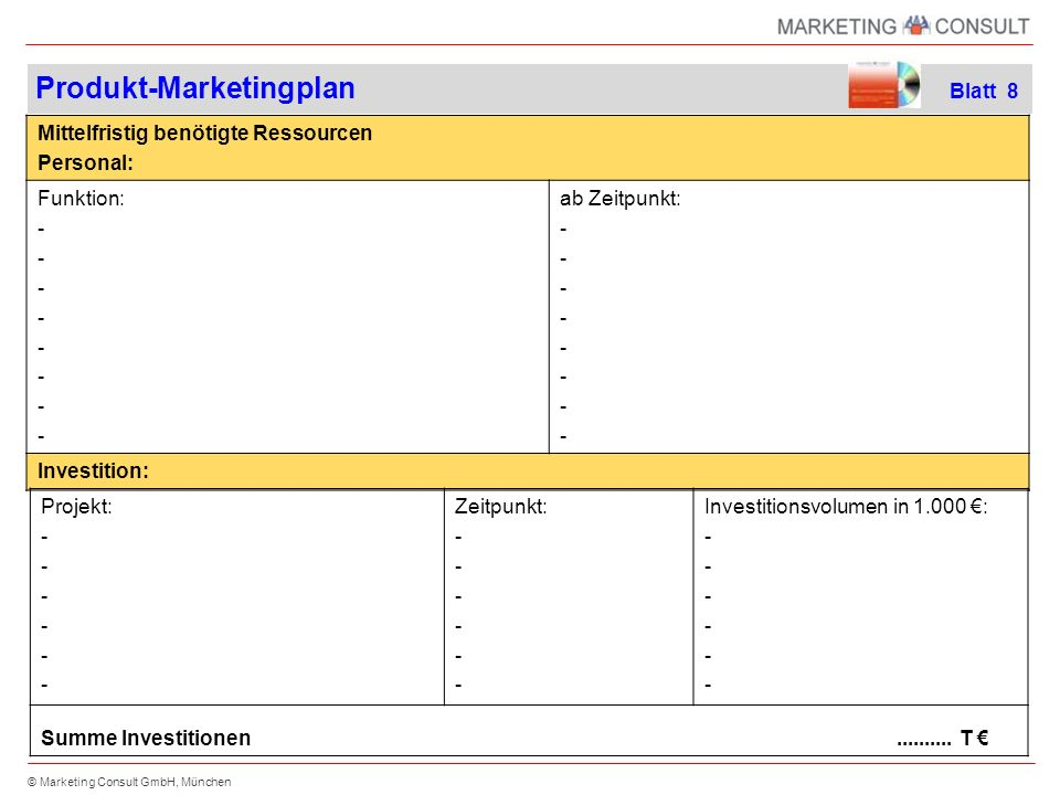 Produkt-Marketingplan Blatt 8