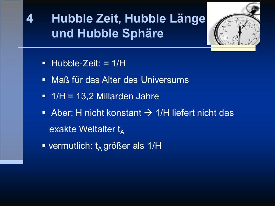 Hubble Zeit, Hubble Länge und Hubble Sphäre