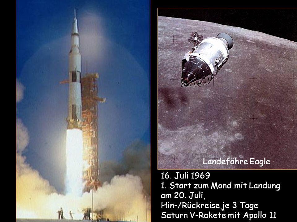 1. Start zum Mond mit Landung am 20. Juli, Hin-/Rückreise je 3 Tage