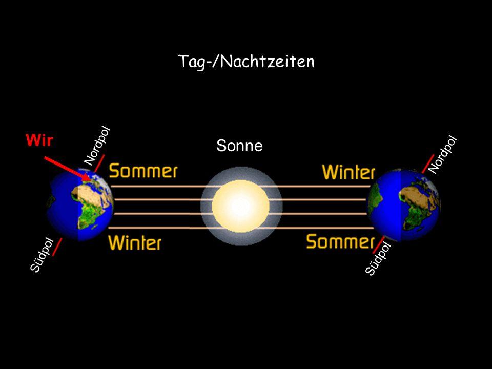 Tag-/Nachtzeiten Wir. Sonne. Südpol Nordpol.