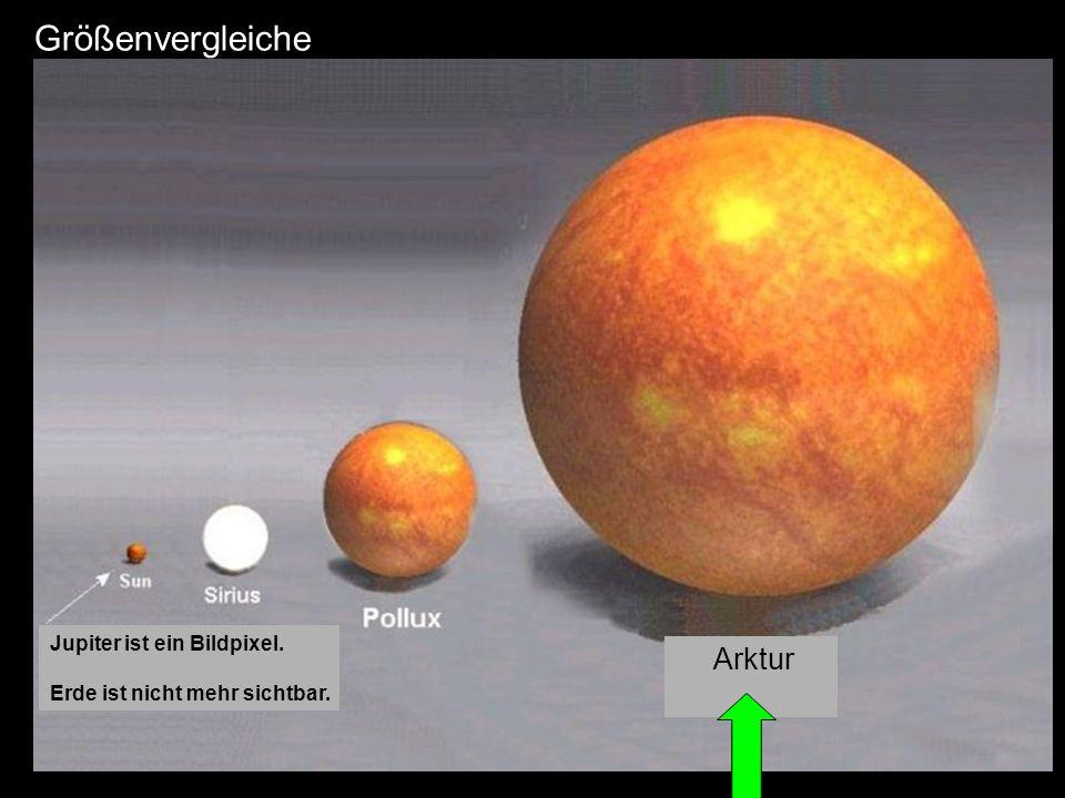 Größenvergleiche Arktur Jupiter ist ein Bildpixel.