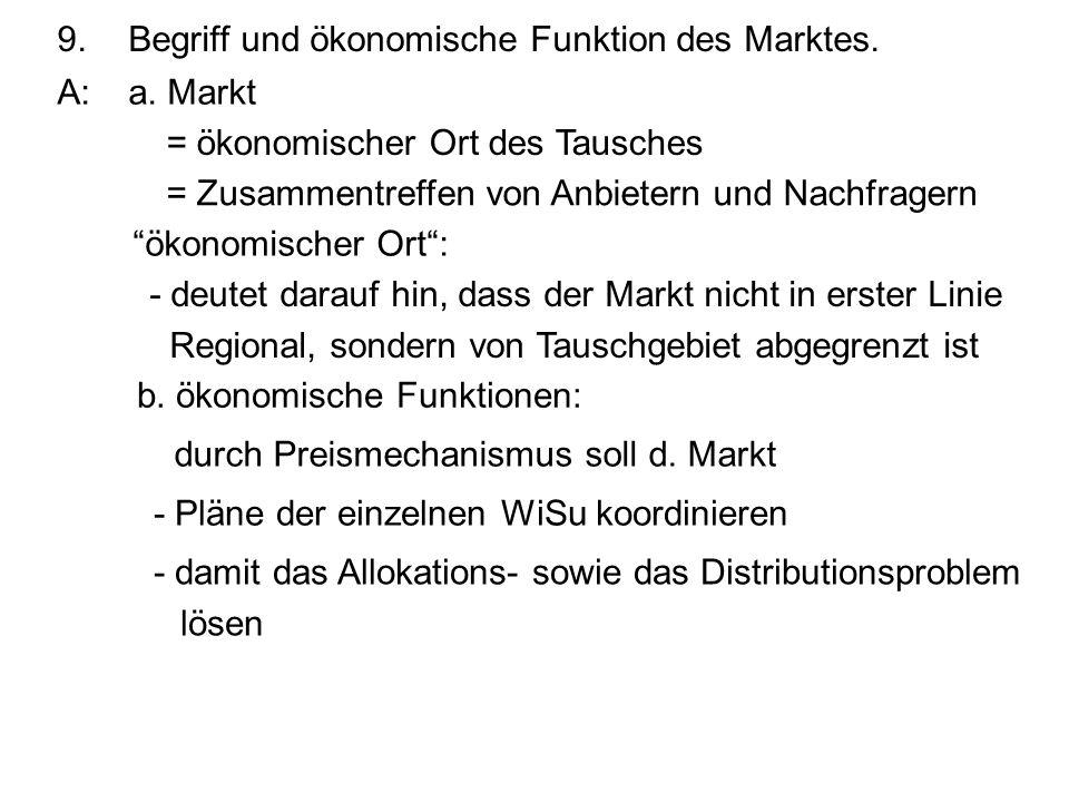 9. Begriff und ökonomische Funktion des Marktes.