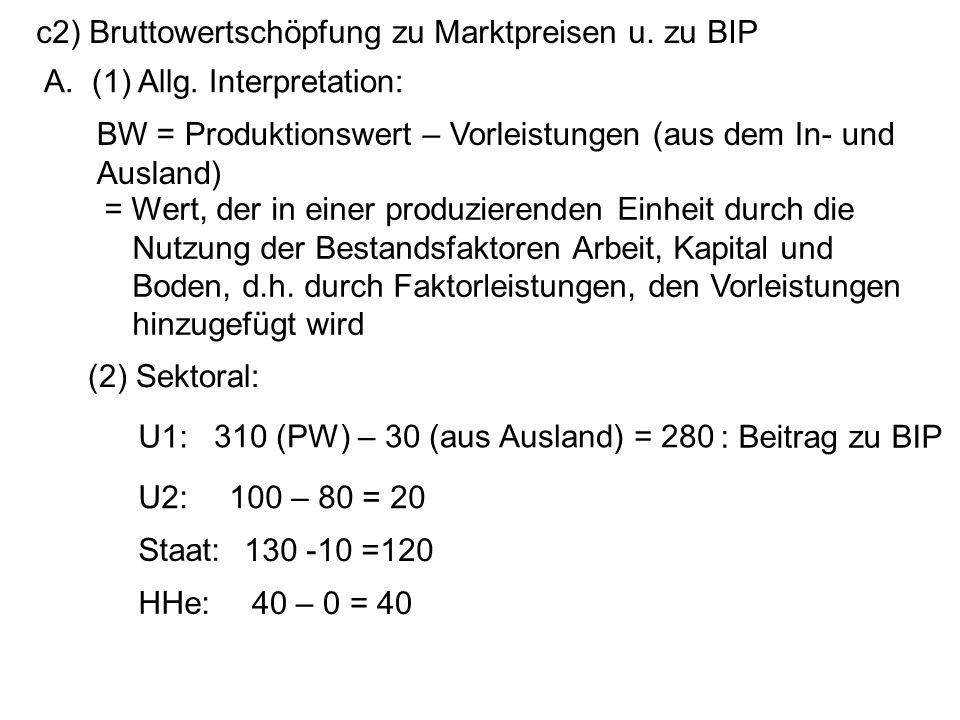 c2) Bruttowertschöpfung zu Marktpreisen u. zu BIP