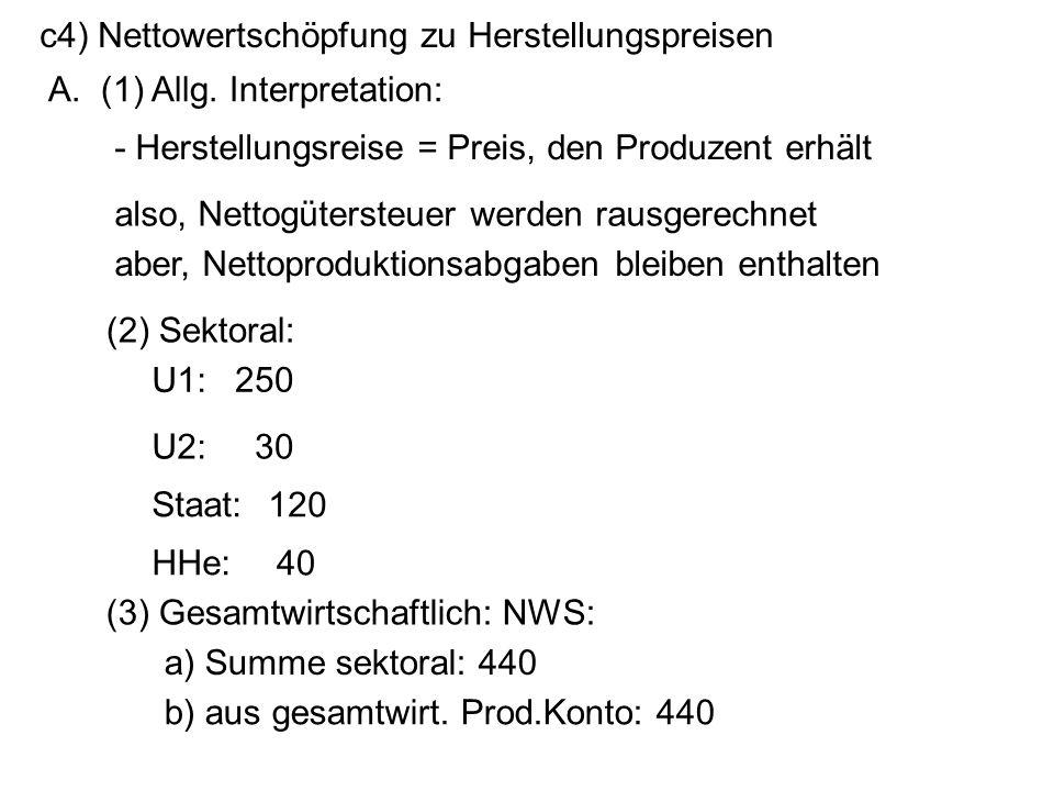 c4) Nettowertschöpfung zu Herstellungspreisen
