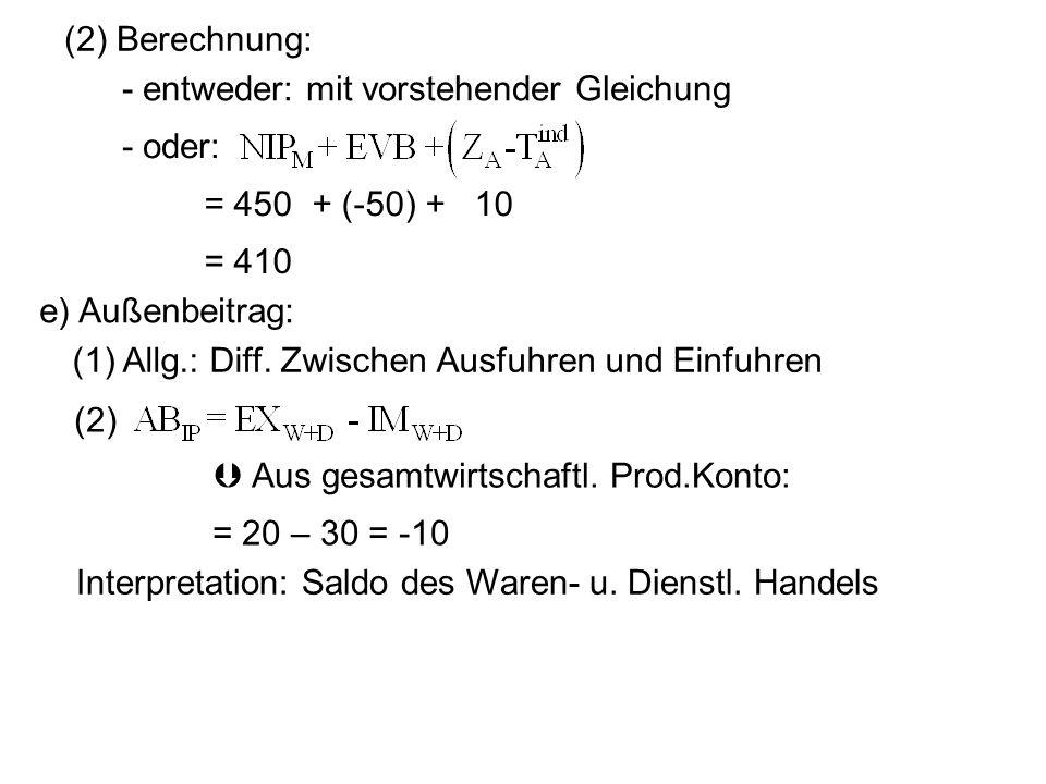 (2) Berechnung: - entweder: mit vorstehender Gleichung. - oder: = 450 + (-50) + 10. = 410. e) Außenbeitrag: