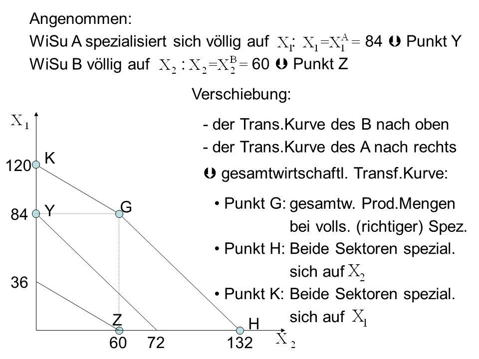 Angenommen: WiSu A spezialisiert sich völlig auf : WiSu B völlig auf : 84.  Punkt Y. 60.