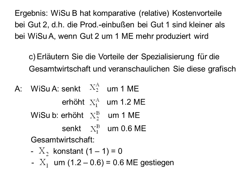 Ergebnis: WiSu B hat komparative (relative) Kostenvorteile