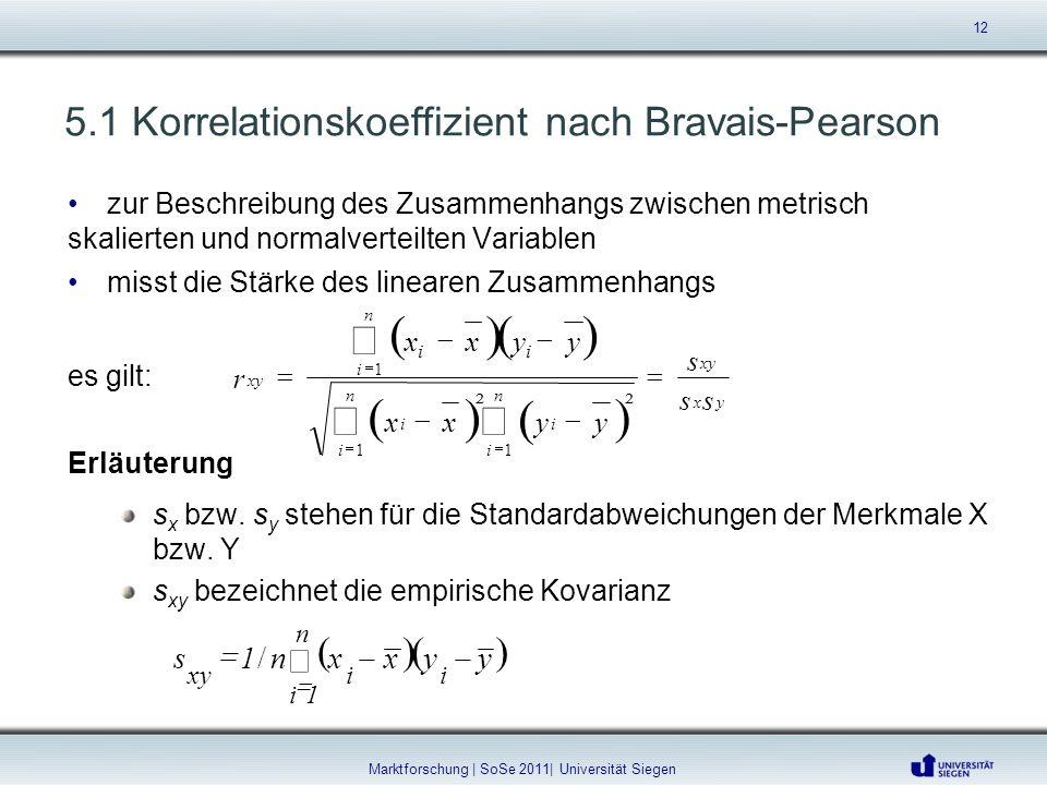 5.1 Korrelationskoeffizient nach Bravais-Pearson