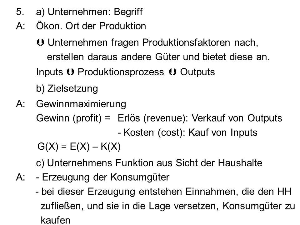 5. a) Unternehmen: Begriff