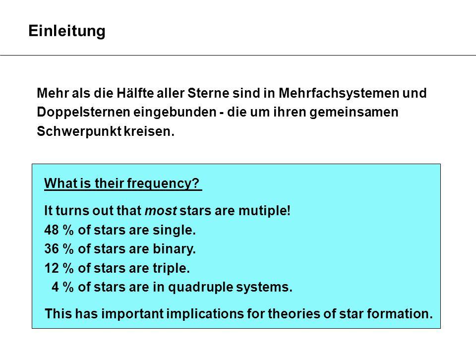 Einleitung Mehr als die Hälfte aller Sterne sind in Mehrfachsystemen und. Doppelsternen eingebunden - die um ihren gemeinsamen.